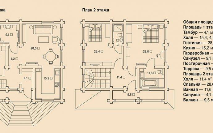 Фото План деревянного дома из оцилиндрованного бревна